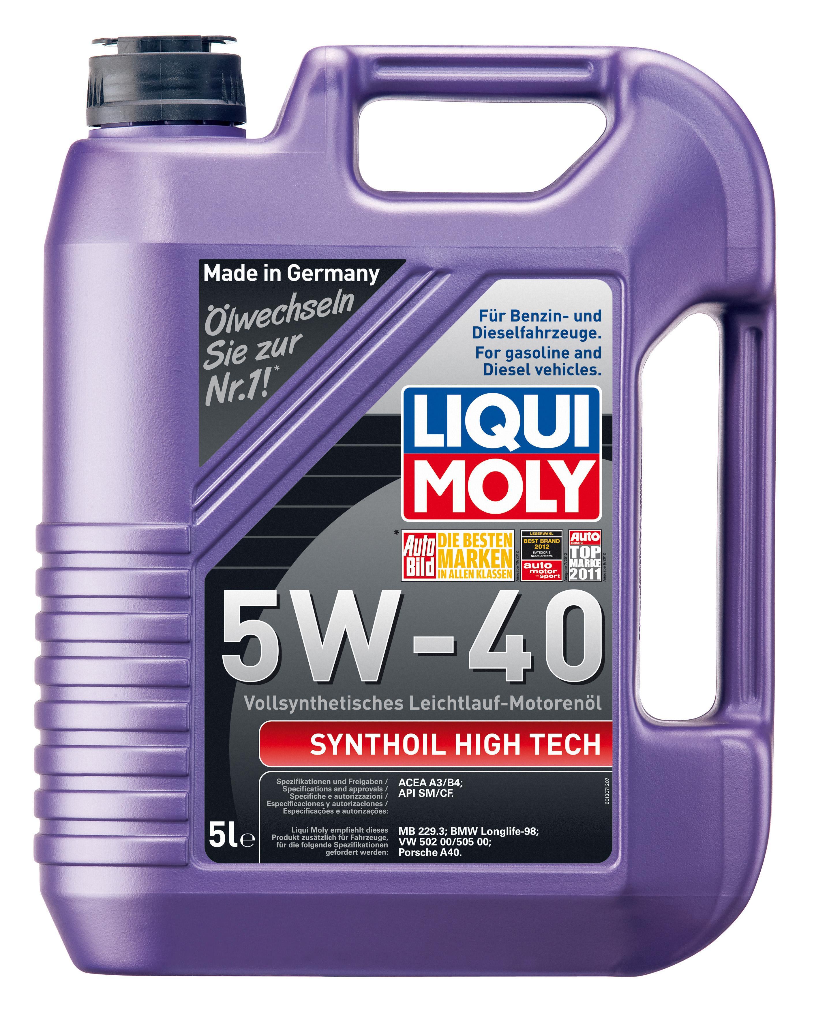 Изображение для Моторное масло Liqui Moly Synthoil High Tech SAE 5W-40 5l